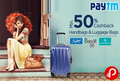 Get Minimum 50% Cashback Handbags & Luggage Bags - Paytm