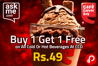 Buy 1 Get 1 Free on All Cold Or Hot Beverages At CCD @ Rs.49- AskMe