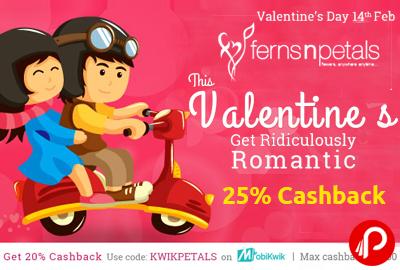 Valentine Flowers - Get Upto 25% Cashback on Flowers - FernsPetals