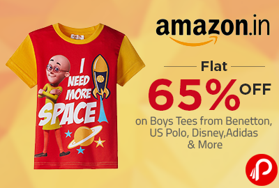 Flat 65% off on Boys Tees from Benetton, US Polo, Disney, Adidas & More