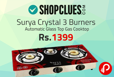 029d2e3937b Surya Crystal 3 Burners Automatic Glass Top Gas Cooktop at Rs.1399 –  Shopclues