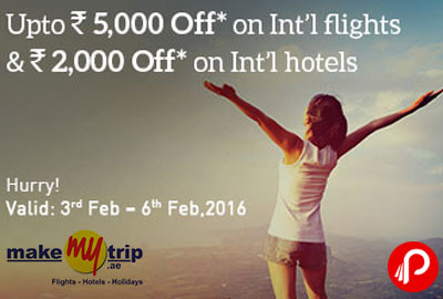 International Flights UPTO Rs.5000 Off and International Hotels UPTO Rs.2000 off - MakeMyTrip