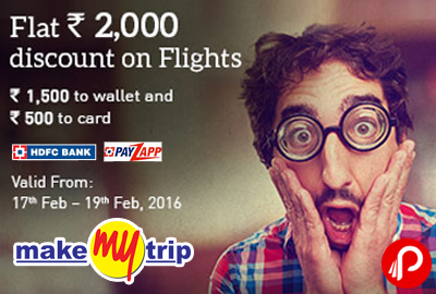 MakeMyTrip Domestic Flights HDFC Offer Flat 2000 off on Domestic Flights - MakeMyTrip