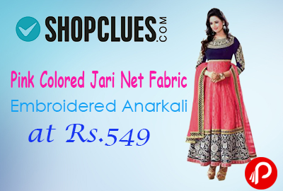 Pink Colored Jari Net Fabric Embroidered Anarkali at Rs.549 - Shopclues