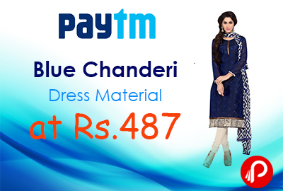 Blue Chanderi Dress Material