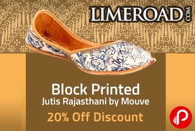 Block Printed Jutis Rajasthani by Mouve 20% off Discount - Limeroad
