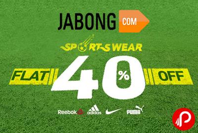 Sportswear Flat 40% off + 10% Cashback - Jabong