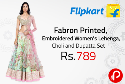 Fabron Printed, Embroidered Women's Lehenga, Choli and Dupatta Set at Rs.789 - Flipkart