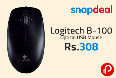 Logitech B-100 Optical USB Mouse at Rs.308 - Snapdeal