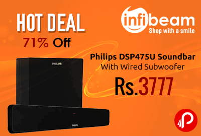 Philips DSP475U Soundbar With Wired Subwoofer at Rs.3777 - Infibeam