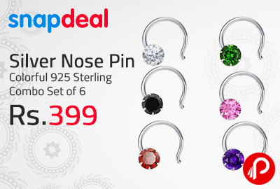 Silver Nose Pin Colorful 925 Sterling Combo Set of 6 at Rs.399 - Snapdeal