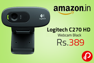 Logitech C270 HD Webcam Black at Rs.389 - Amazon