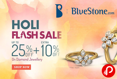 Diamond Jewellery Upto 25% off +Extra 10% off Holi Flash Sale - Bluestone
