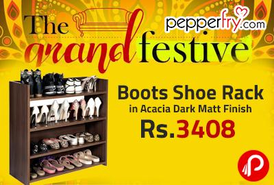Boots Shoe Rack in Acacia Dark Matt Finish at Rs.3408 - Pepperfry