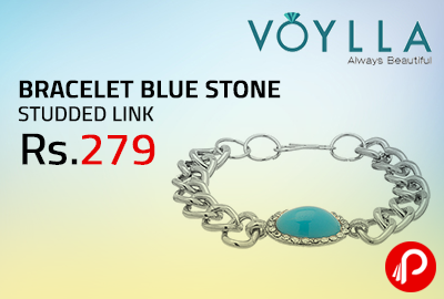 BRACELET BLUE STONE STUDDED LINK at Rs.279 - Voylla