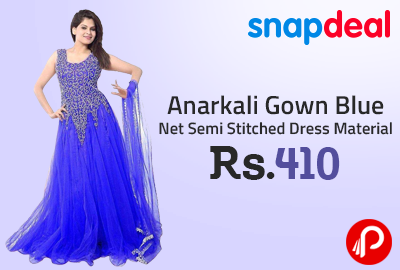 6a7f33a3100 Anarkali Gown Blue Net Semi Stitched Dress Material at Rs.410 - Snapdeal