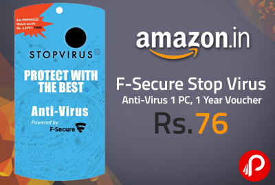 F-Secure Stop Virus Anti-Virus 1 PC, 1 Year Voucher at Rs.76 - Amazon