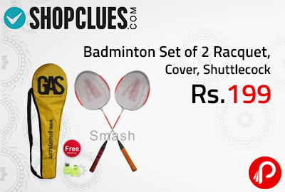 Badminton Set of 2 Racquet, Cover, Shuttlecock at Rs.199 - Shopclues