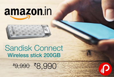 Sandisk Connect Wireless Stick 200GB at Rs.8990 - Amazon