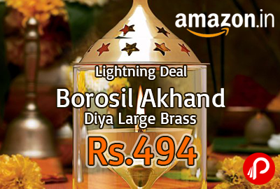 Borosil Akhand Diya Large Brass at Rs.494 | Lightning Deal - Amazon