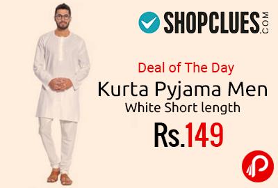 Kurta Pyjama Men White Short length at Rs.149 Only - Shopclues