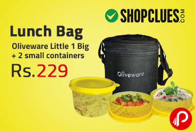 Lunch Bag Oliveware Little 1 Big + 2 small containers at Rs.229 - Shopclues