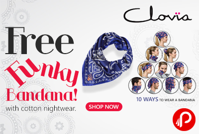 Free Funky Bandana with Cotton Nightwear - Clovia