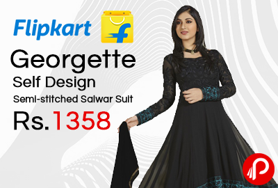 Georgette Self Design Semi-stitched Salwar Suit at Rs.1358 - Flipkart