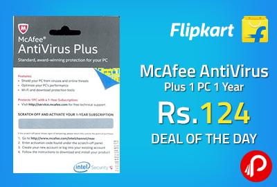 McAfee AntiVirus Plus 1 PC 1 Year at Rs.124 - Flipkart