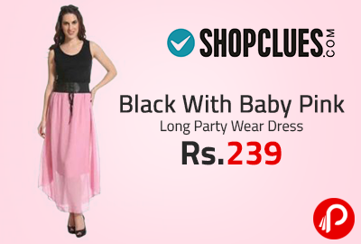Black With Baby Pink Long Party Wear Dress at Rs.239 - Shopclues