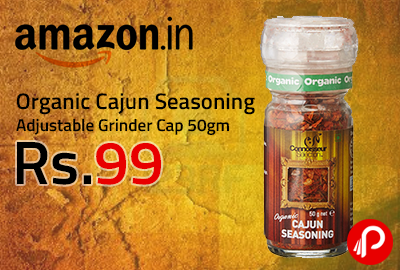 Organic Cajun Seasoning Adjustable Grinder Cap 50gm at Rs.99 - Amazon