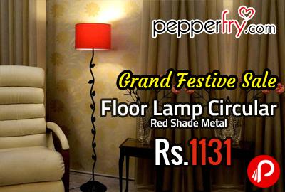 Floor Lamp Circular Red Shade Metal at Rs.1131 - Pepperfry