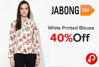 White Printed Blouse 40% off Just at Rs.539 - Jabong