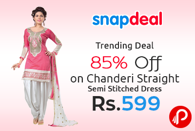 Get 85% off on Chanderi Straight Semi Stitched Dress at Rs.599 - Snapdeal