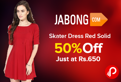 Skater Dress Red Solid 50% off Just at Rs.650 - Jabong