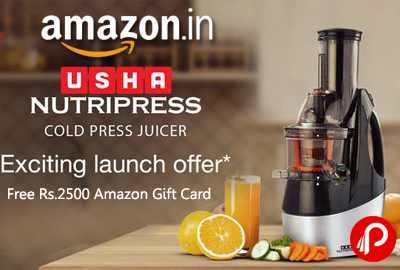 Free Rs.2500 Amazon Gift card on Usha Cold Juicer at Rs.27990 - Amazon