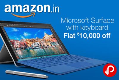 Flat 10000 off Microsoft Surface with Keyboard - Amazon