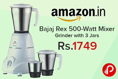 Mixer Grinder Bajaj Rex with 3 Jars at Rs.1749 - Amazon