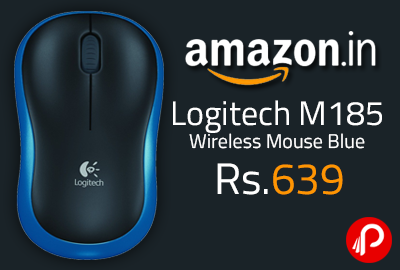 Logitech M185 Wireless Mouse Blue at Rs.639 - Amazon