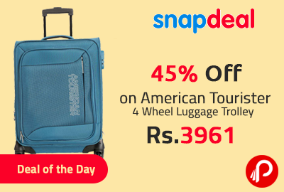 Get 45% off on American Tourister 4 Wheel Luggage Trolley at Rs.3961 - Snapdeal