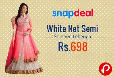 d8633570197 White Net Semi Stitched Lehenga at Rs.698 - Snapdeal