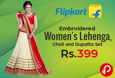 e1eb8cb4e Embroidered Lehenga Choli Dupatta Set at Rs. 399 - Flipkart