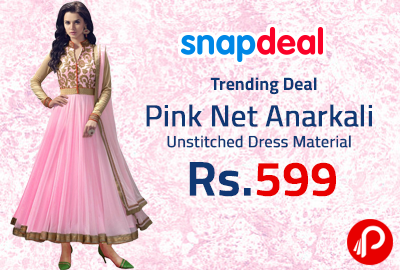 e3fd648b9a8 Pink Net Anarkali Unstitched Dress Material at Rs.599 - Snapdeal