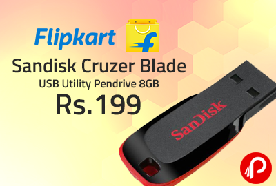 Sandisk Cruzer Blade USB Utility Pendrive 8GB at Rs.199 - Flipkart