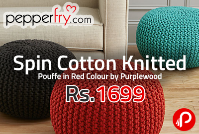 Spin Cotton Knitted Pouffe in Red Colour by Purplewood at Rs.1699 - Pepperfry