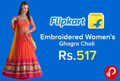 ca12cfc34 Embroidered Women s Ghagra Choli at Rs.517 - Flipkart