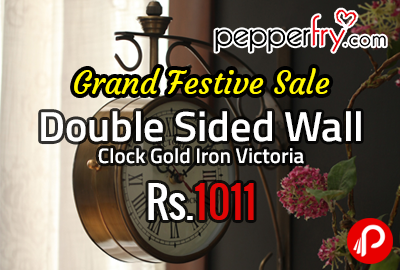 Double Sided Wall Clock Gold Iron Victoria at Rs.1011 - Pepperfry