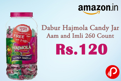 Dabur Hajmola Candy Jar Aam and Imli 260 Count at Rs.120 - Amazon