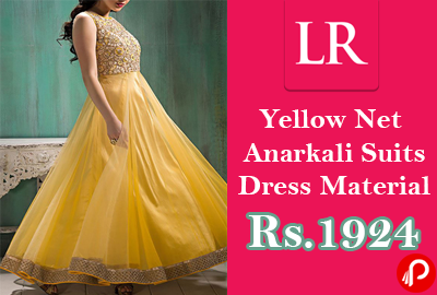 Anarkali Suits Yellow Net Dress Material at Rs.1924 - LimeRoad