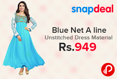 Blue Net A line Unstitched Dress Material Just at Rs.949 - Snapdeal